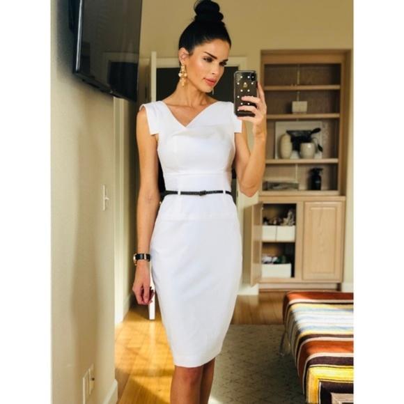 6574d20084e Black Halo Dresses   Skirts - Black Halo White Classic Jackie O Midi Dress  White